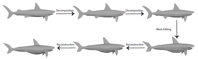 The application of the diagrammatic approach in multiresolution mesh editing.