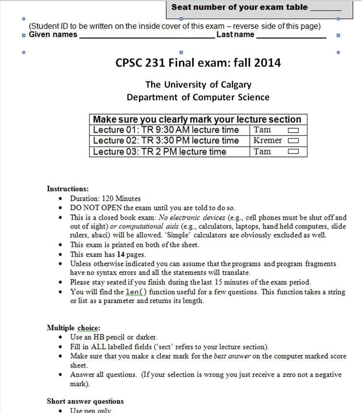 CPSC 231: Final exam information