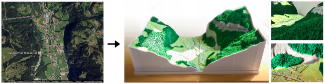 Left: A satellite image from Google Maps. Right: Our 3D printed model of the same area.