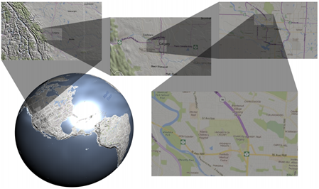 Multilevel focus+context visualization on the globe with diverse levels of magnification.